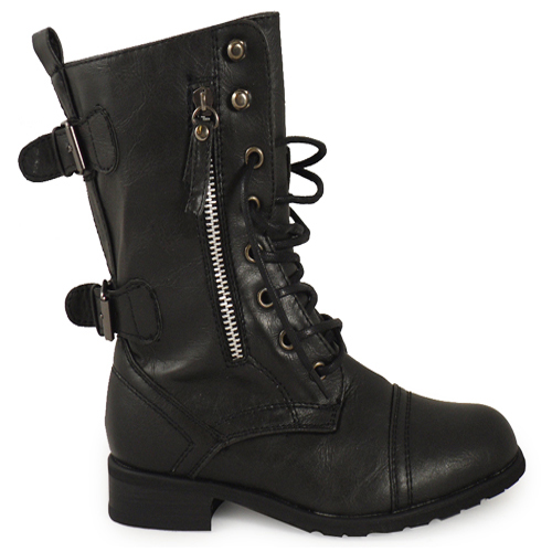 kids girls black combat military army boots sizes 102 ebay