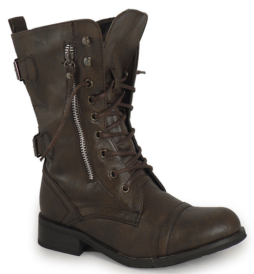 brown zip combat army boots sizes 3 8 ebay