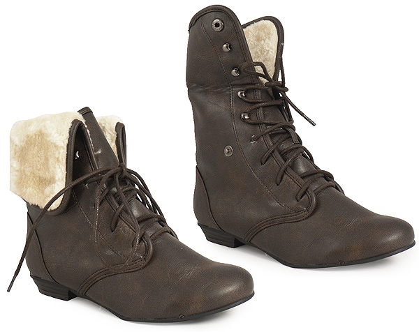 brown ankle lace up fur army pixie boot size 3 8 ebay