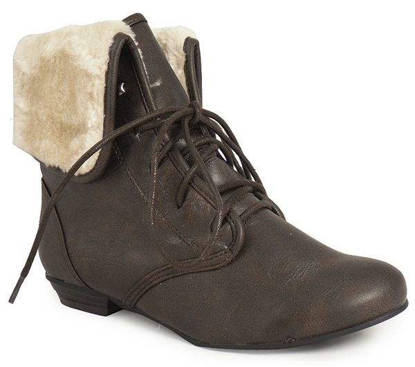 new brown pixie fur ankle boots womens size 3 4 ebay